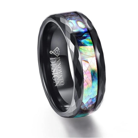 Multifaceted Edges Abalone Inlay Tungsten Carbide Ring