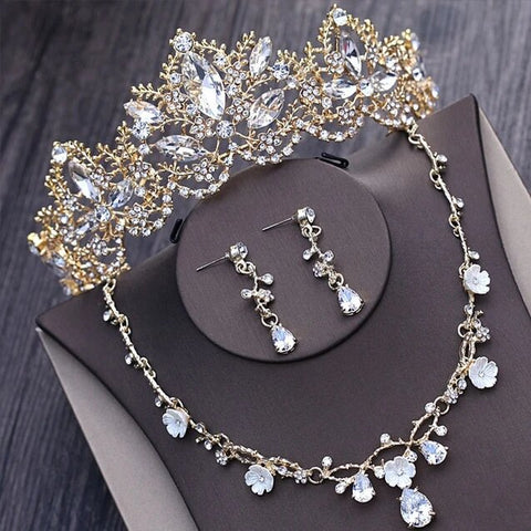 Gold Stainless Wire Empress Crown Stainless Jewelry Set