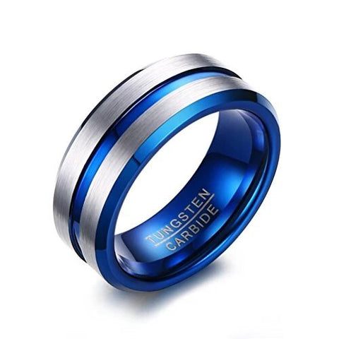 Tungsten Carbide Ring Two-tone Blue Silver Wedding Band Matte Finished