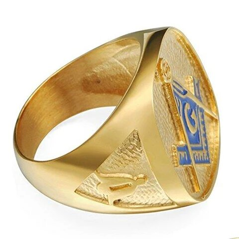 18K Gold Plated Stainless Steel Masonic Ring