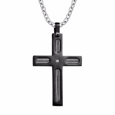 Black Silver Cable Cross Stainless Steel Necklace