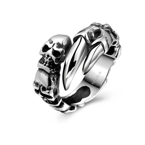 Stainless Steel Skull Claw Open Ring