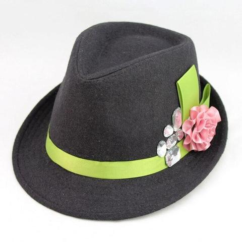 Floral CZ Neon Green Hatband Felt Hat (4 Available Colors)