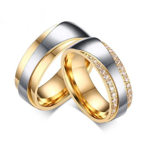 Luxury Gold & Silver Crystal Pave Stainless Steel Wedding Ring Set