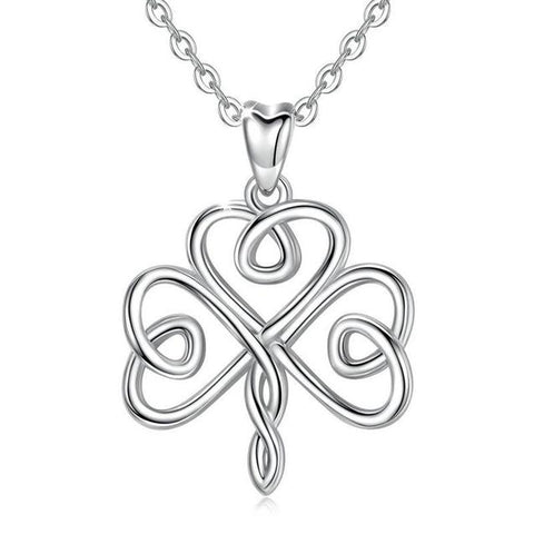 Infinity Knot Three Leaf Clover Sterling Silver Necklace
