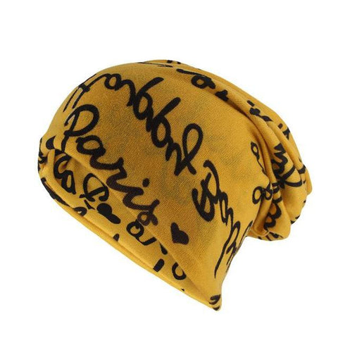 Scribble Printed Cotton Woven Beanie (5 Available Color)