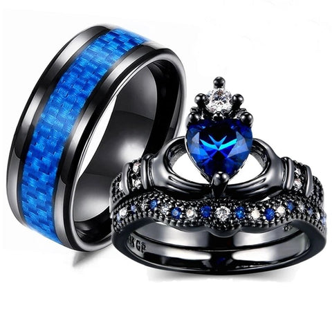 Black & Blue Heart Claddagh carbon Fiber Stainless Ring Set