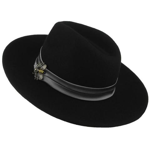 Metal Bee Silk Hatband Wide Brimmed Hat (2 Available Colors)