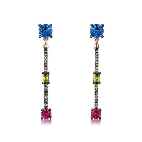 High Fashion Colored Cubic Zirconia Sterling Silver Stud Earrings