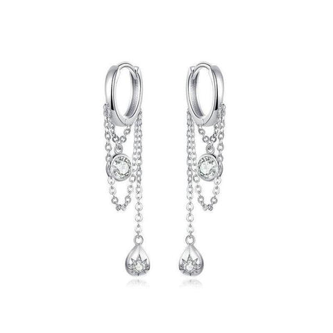 Crystal Sun Cascading Trellis Huggie Earrings