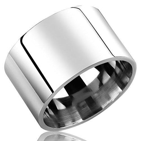 Men Wide Pipe Silver Stainless Steel Engagement Band