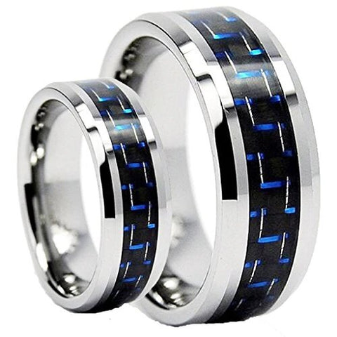 Tungsten Carbide Wedding Ring Set With Blue Modern Carbon Fiber Inlay