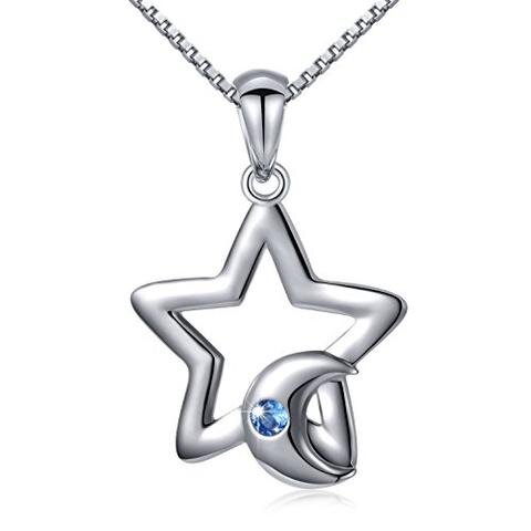 Sterling Silver Dainty Crescent Moon Star Pendant Necklace