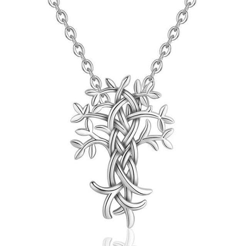 Modern Tree of Life Sterling Silver Pendant Necklace