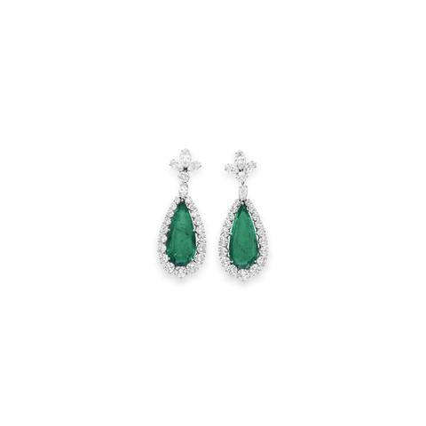 Emerald and Diamond Earrings by BVLGARI