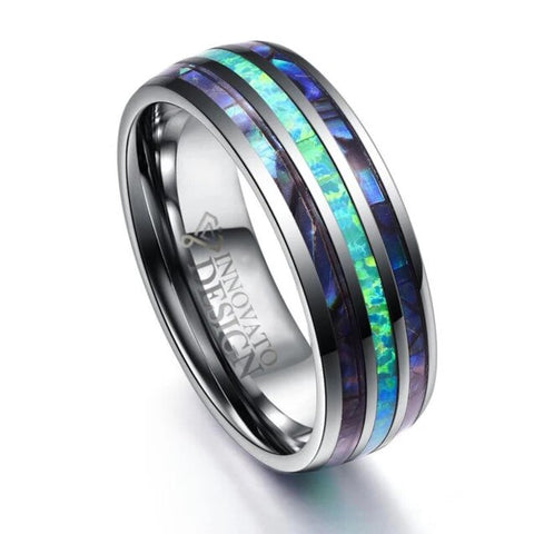 Silver Blue Abalone Carbon Fiber Inlay Tungsten Ring