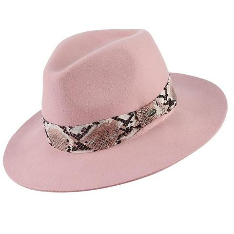 Pink Animal Print Hatband Wool Fedora (5 Available Colors)