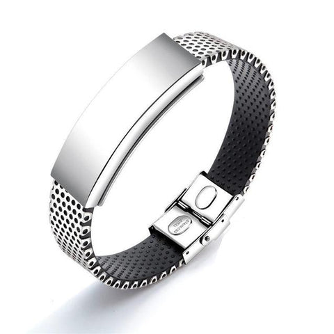 Personalized Silver-tone Magnetic Bracelet