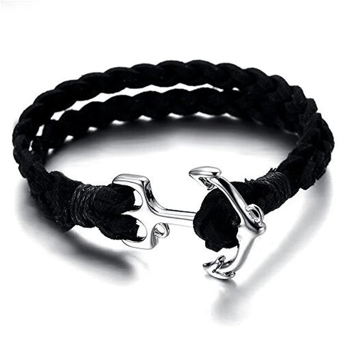 Black Rope Chain Bracelet Vintage Anchor