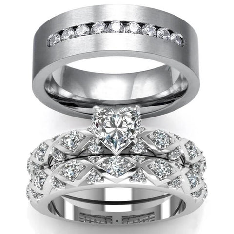 Lattice Paved Zirconia Heart Stainless Ring Set