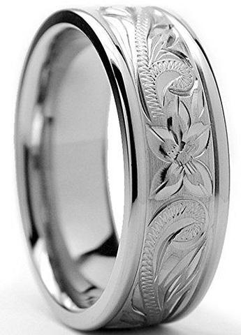 Traditional Titanium Engraved Floral Design LGBTQ Wedding Band
