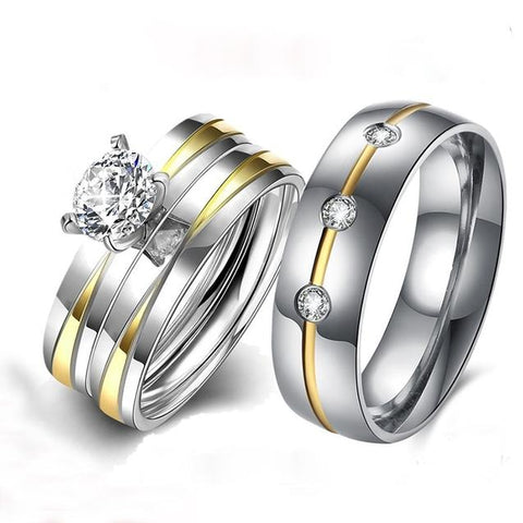 3PC Gold & Silver Crystal Stainless Alloy Engagement Ring Set