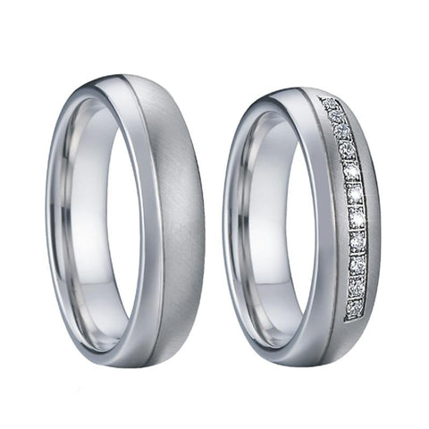 Dual Polished Dome Crystal Chanel Pave Stainless Steel Wedding Ring Set