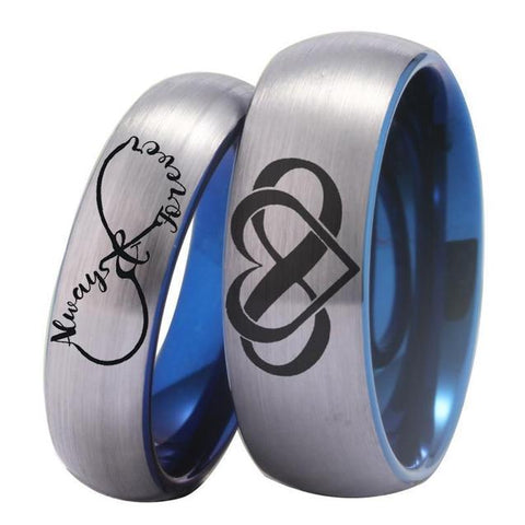 Brushed Siler Infinity Engrave Blue Tungsten Ring