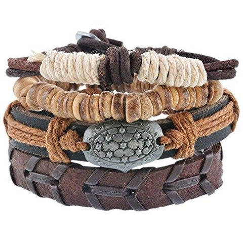 Traditional Four Piece Set Brown Leather Multilayer Bracelet