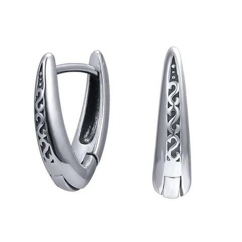 316L Stainless Steel V Shape Punk Hoop Earrings