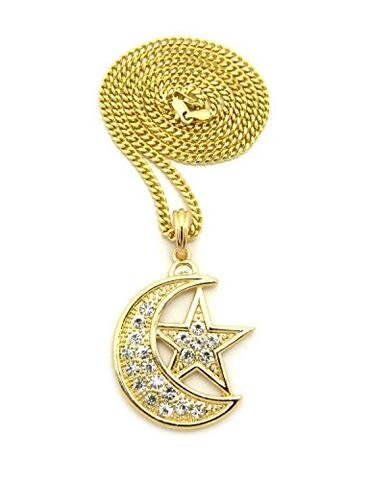 Gold Hip Hop Iced Crescent Moon Star Pendant Chain Necklace