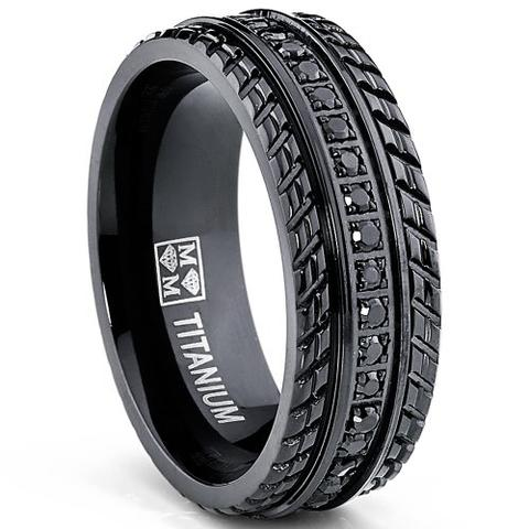Black Tire Chevron Titanium Pave Set Wedding Band