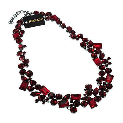 Multi-Cut Red Crystal Fashion Necklace