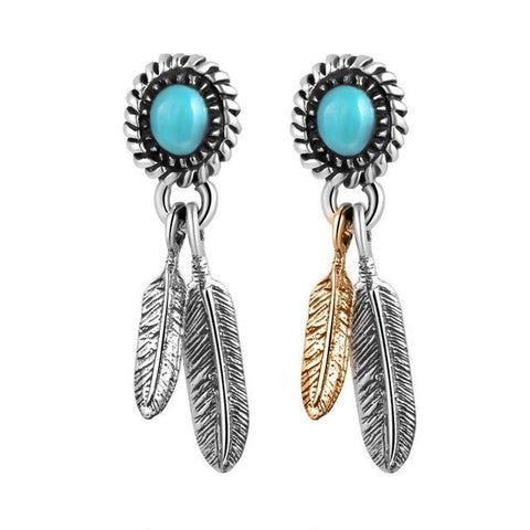 Turquoise Plated Sterling Silver Stud Earrings