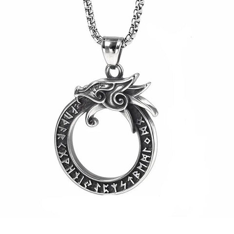 Rune Stainless Steel Dragon Ring Pendant Necklace