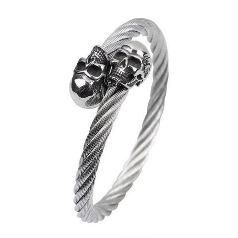 Double Skull Twisted Bracelet (2 Available Color)