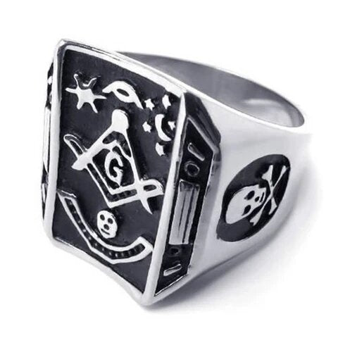Men's Stainless Steel Black and Silver Skull Masonic Ring