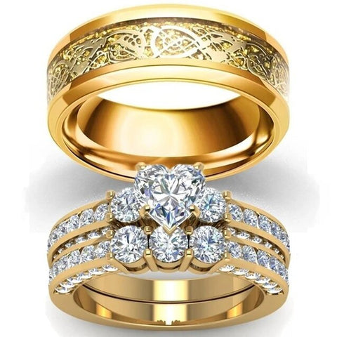 Gold Dragon Queen Heart Cut Zirconia Stainless Ring Set