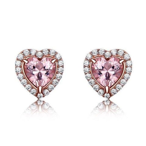 Pink Heart Halo Crystal Sterling Stud Earrings