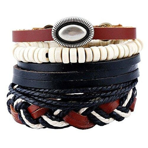 Casual Faux Leather Retro Bracelet Set