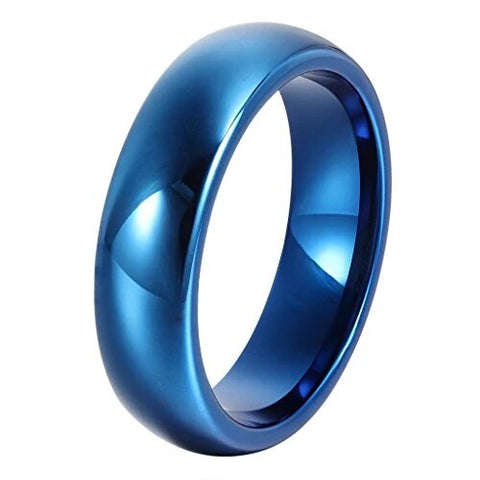 Classic Blue Domed Tungsten Edge Wedding Band
