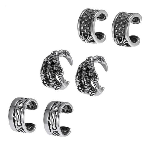6Pcs Stainless Steel Medieval Roman Style Cuff Earring Set