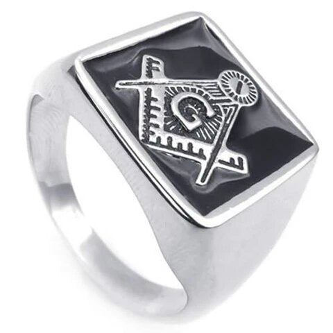 Men's Stainless Steel Embossed Stamped Punk Masonic Ring