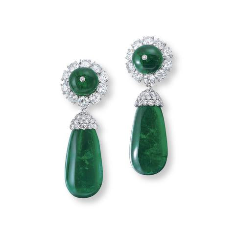 Rare Pair of Diamond and Emerald Earrings