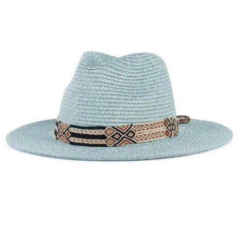 Egyptian Pattern Hatband Straw Hat (5 Available Colors)