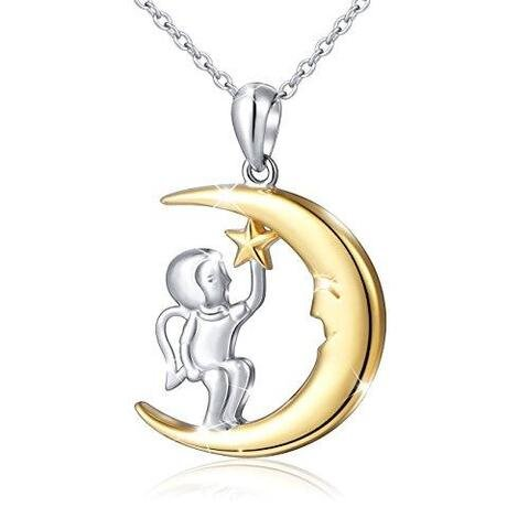Silver Crescent Moon Stars Angel Pendant Necklace