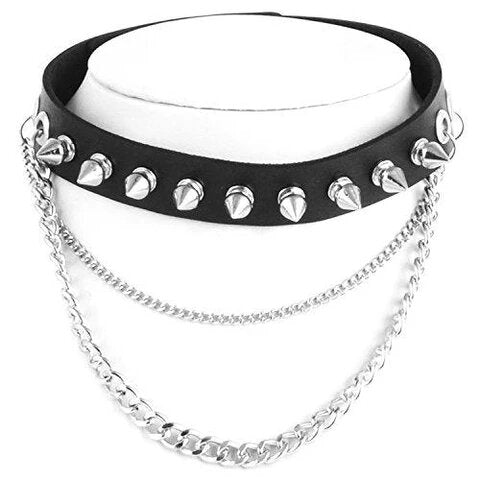 Black layered Metal Spike Studded Link Leather Choker Necklace