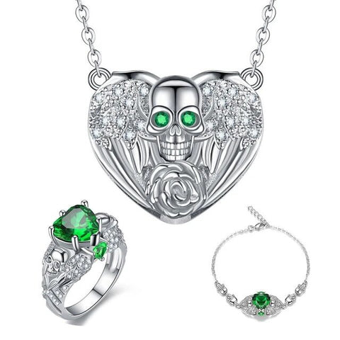 3PC Heart & Skull Floral Stainless Jewelry Set