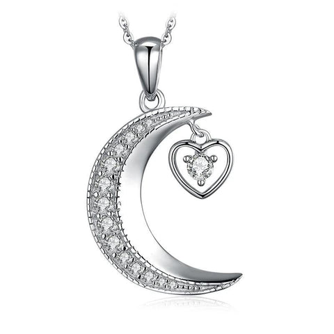 Crystal Pave Crescent Moon Heart Pendant Sterling Silver Necklace
