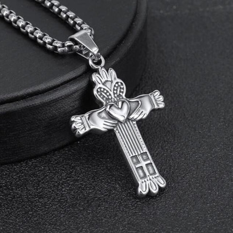 Stainless Steel Claddagh Cross Pendant Necklace